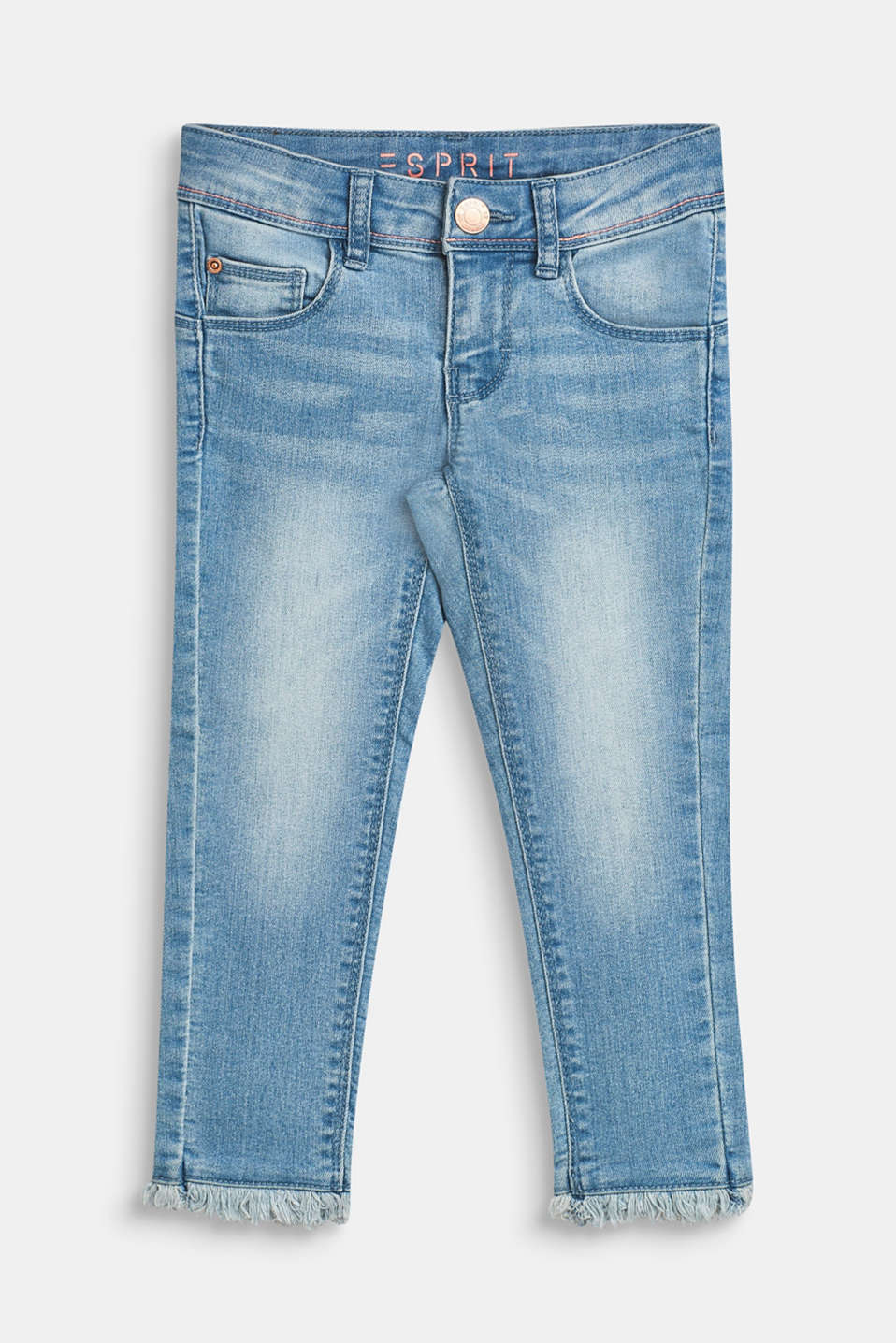 Ultra stretchy jeans with a washed-out effect, BLEACHED DENIM, detail image number 0