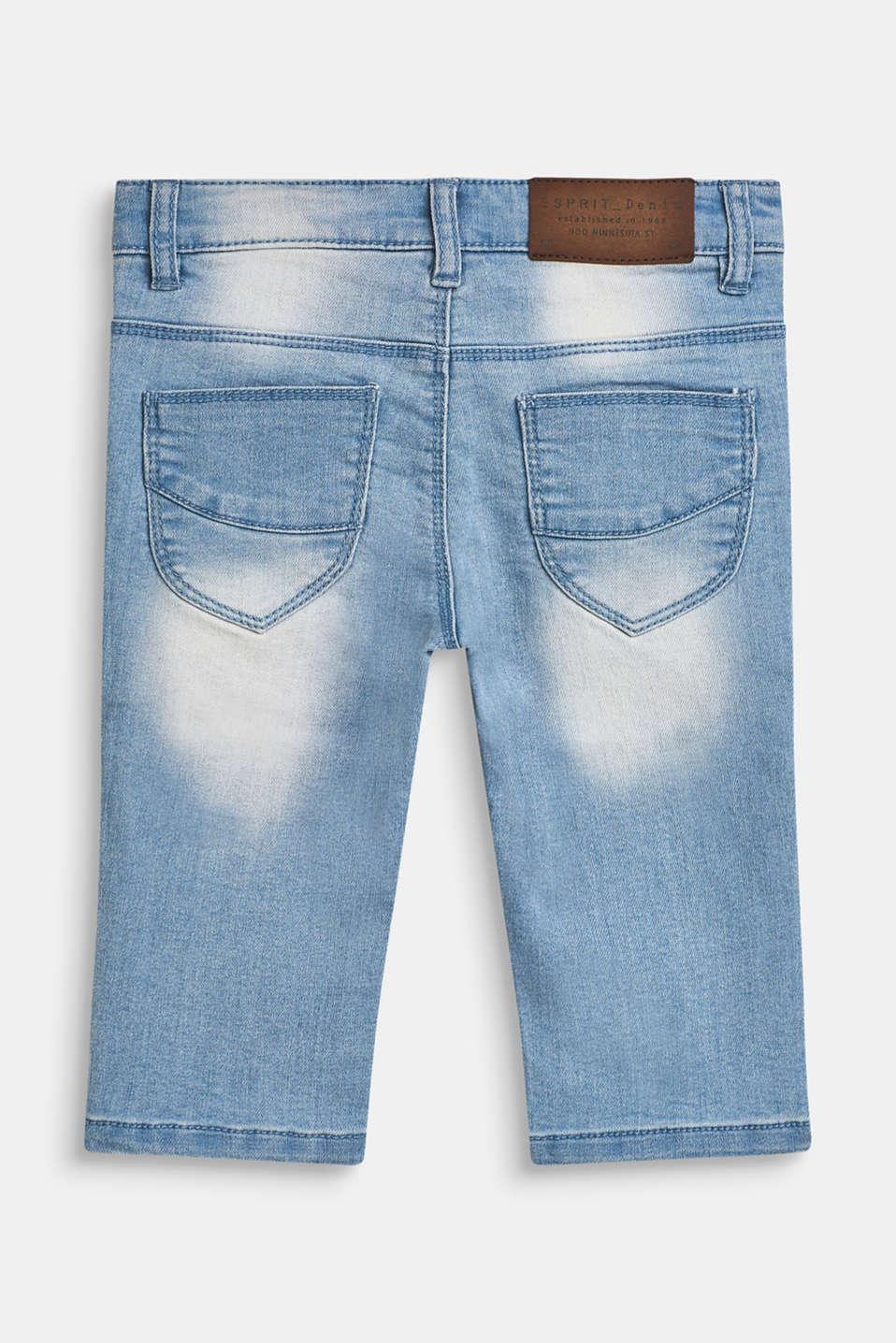 Super stretch Capri-length jeans, BLEACHED DENIM, detail image number 1