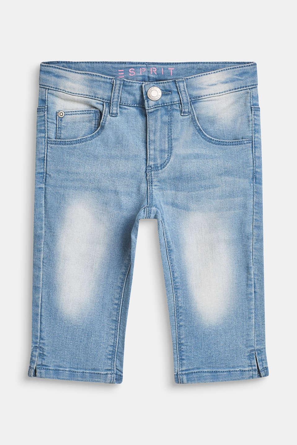 Super stretch Capri-length jeans, BLEACHED DENIM, detail image number 0