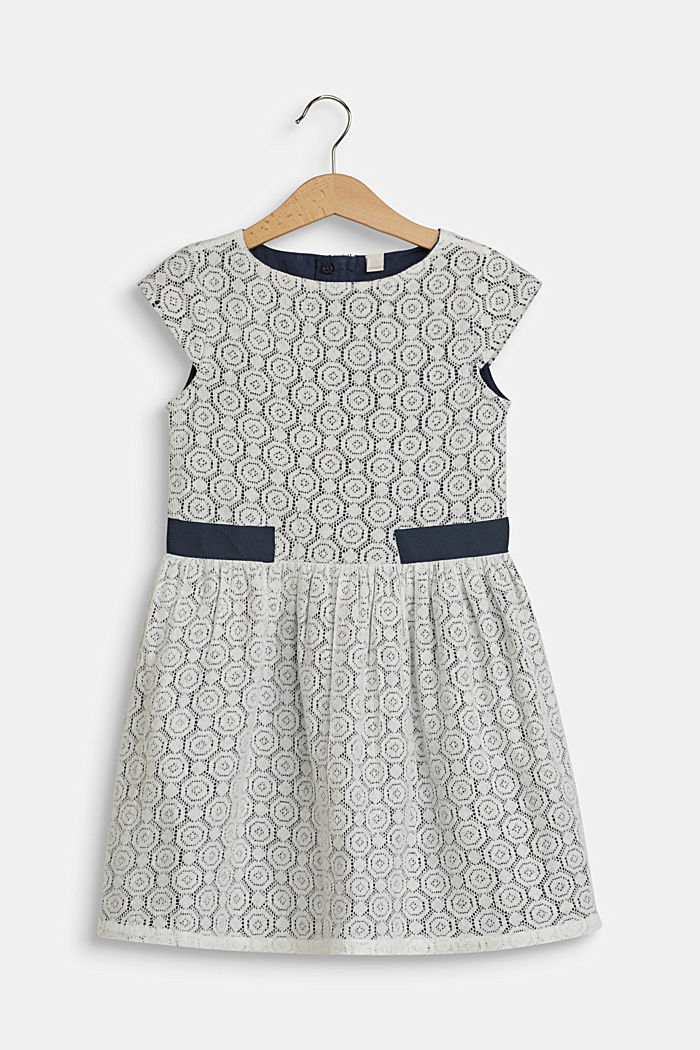 Lacy dress with cotton lining, OFF WHITE, detail image number 0