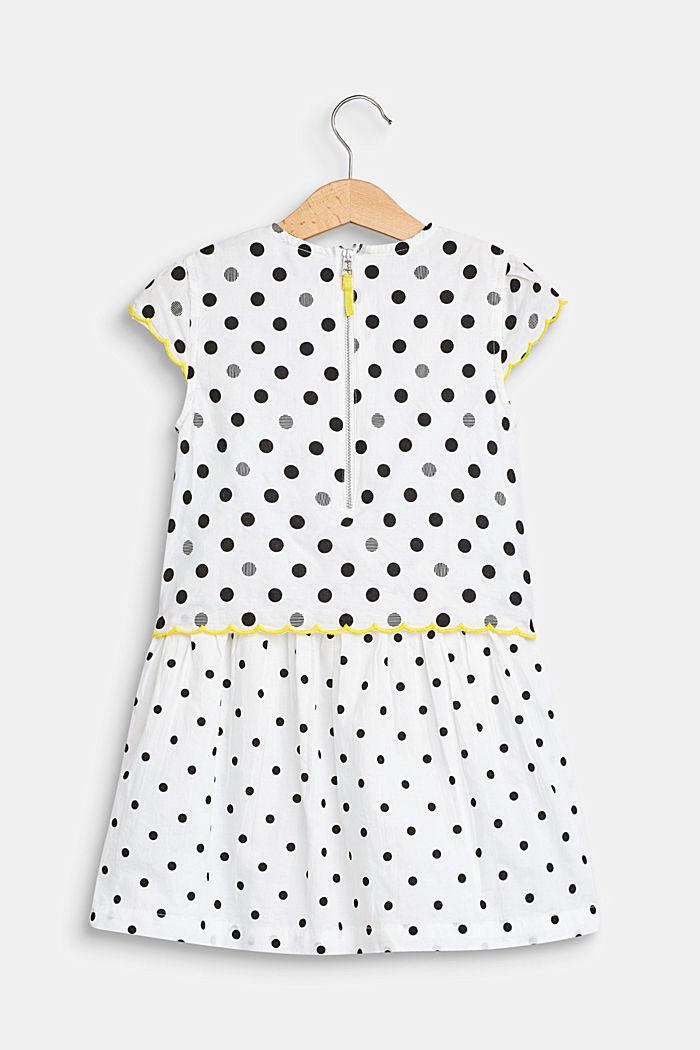 Gestippelde jurk in een laagjeslook, 100% katoen, WHITE, detail image number 1