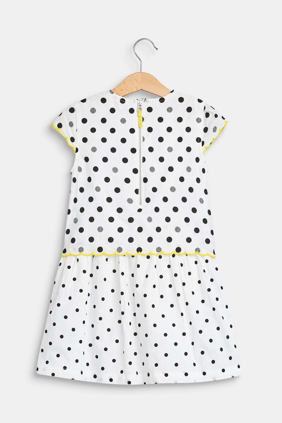 Polka dot dress in a layered look, 100% cotton, WHITE, detail image number 1