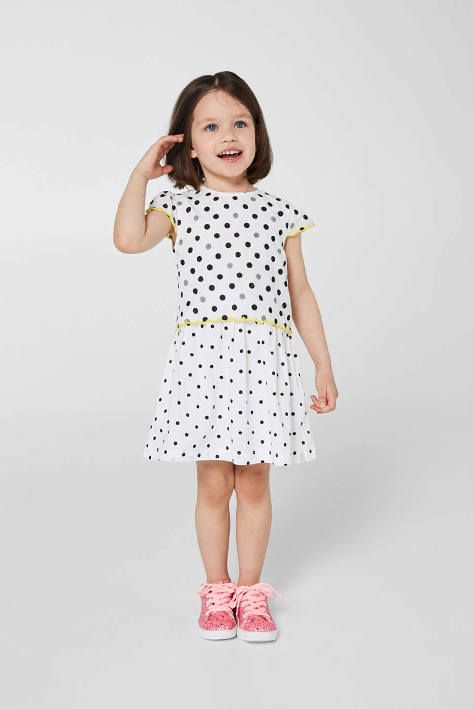 Polka dot dress in a layered look, 100% cotton, WHITE, detail image number 3