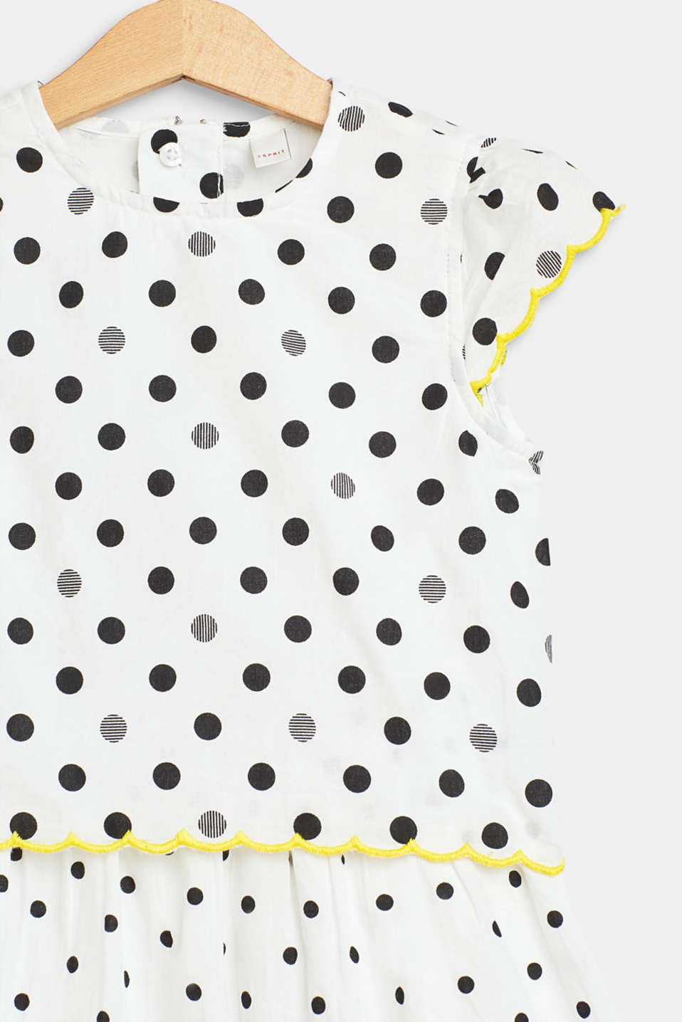 Polka dot dress in a layered look, 100% cotton, WHITE, detail image number 2