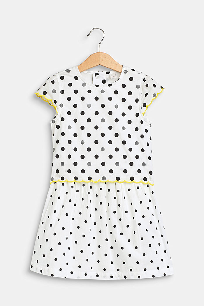 Gestippelde jurk in een laagjeslook, 100% katoen, WHITE, detail image number 0