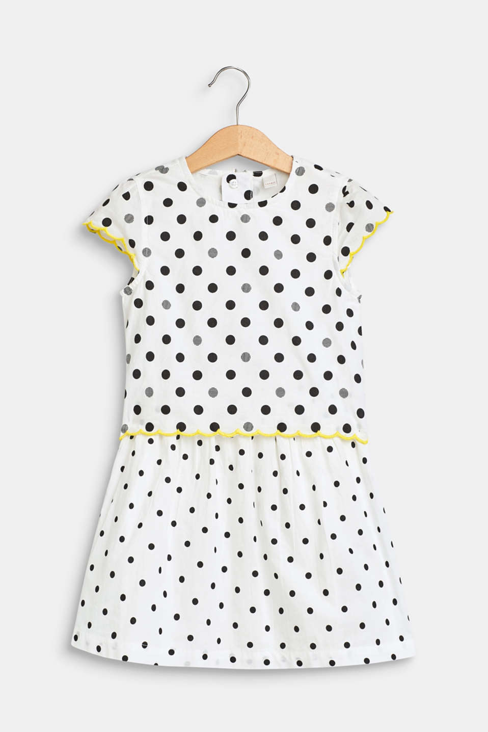 Polka dot dress in a layered look, 100% cotton, WHITE, detail image number 0