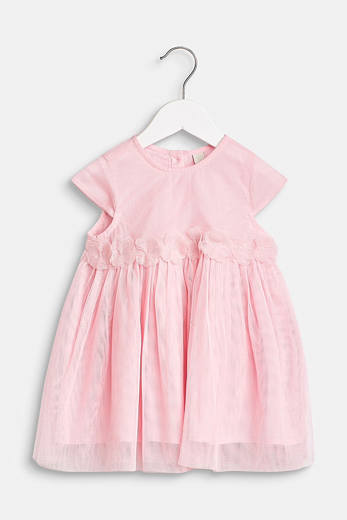 Tulle dress with flowers and cotton lining, BLUSH, detail image number 0
