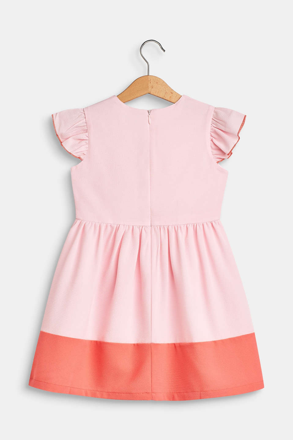 Crêpe dress with colour blocking, BLUSH, detail image number 1
