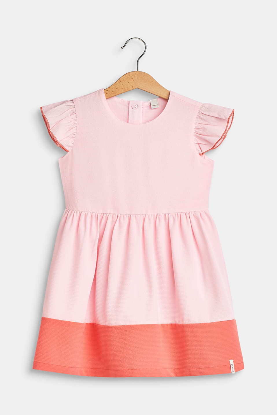 Crêpe dress with colour blocking, BLUSH, detail image number 0