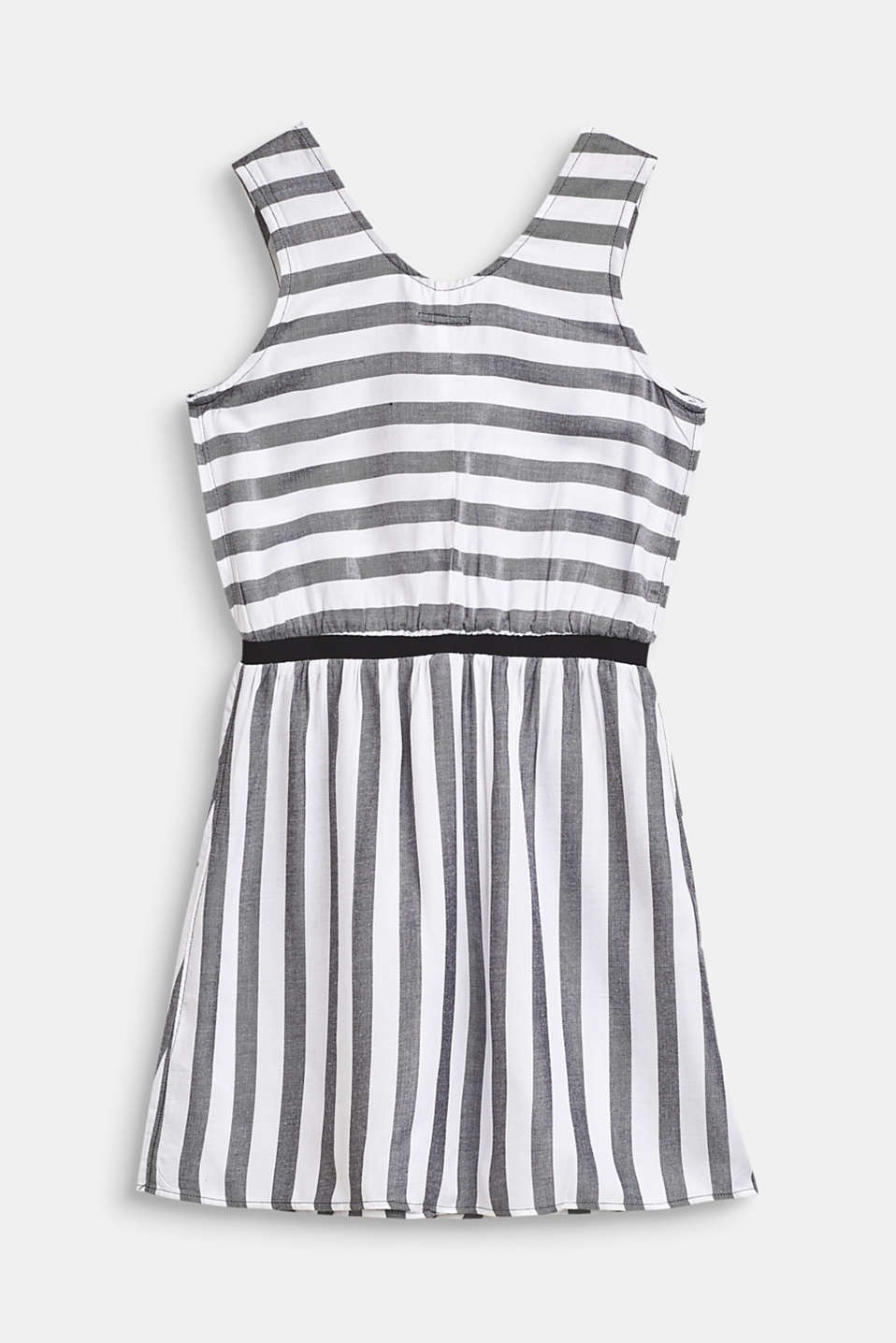 Flowing, woven dress with a striped pattern, LCANTHRACITE, detail image number 1