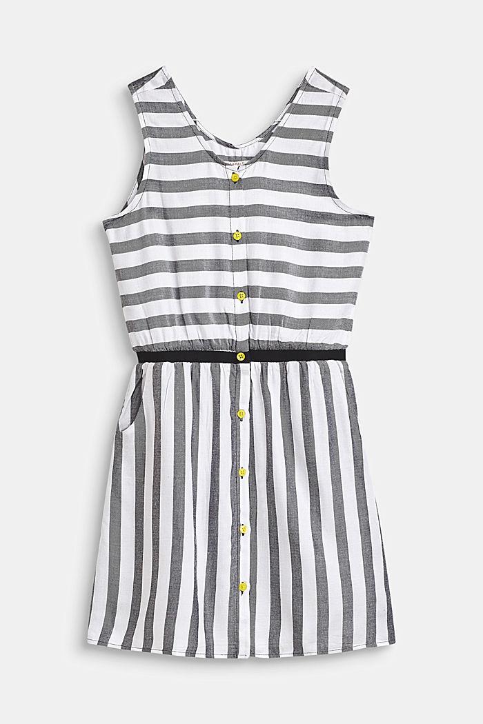 Fließendes Web-Kleid im Streifen-Look, ANTHRACITE, detail image number 0