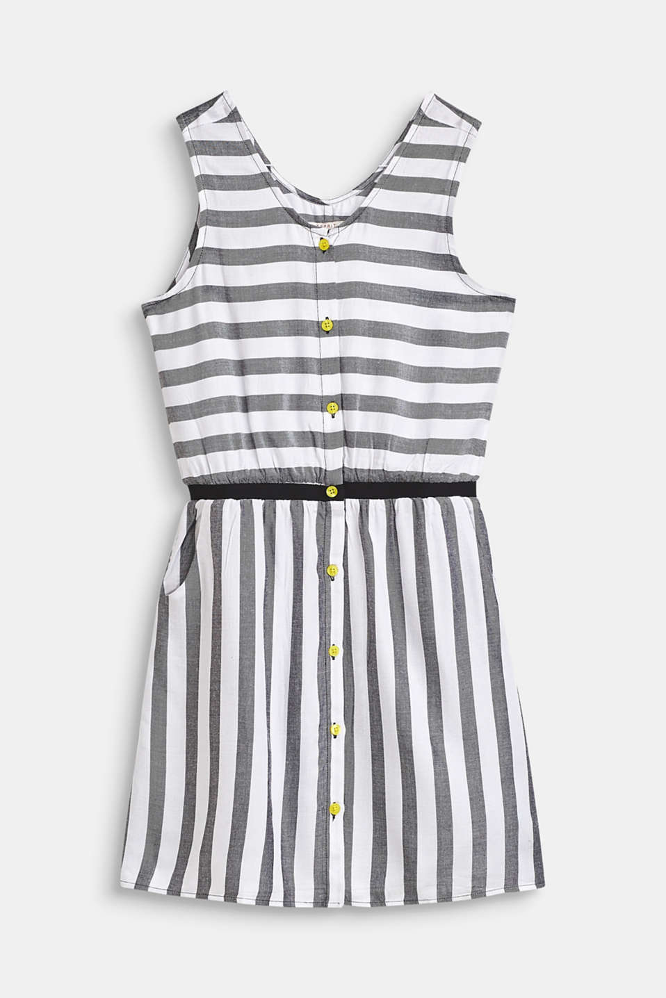 Flowing, woven dress with a striped pattern, LCANTHRACITE, detail image number 0