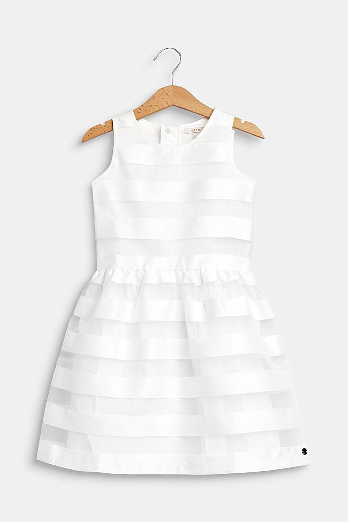 Festliches Kleid mit Glanz-Streifen, OFF WHITE, detail image number 0