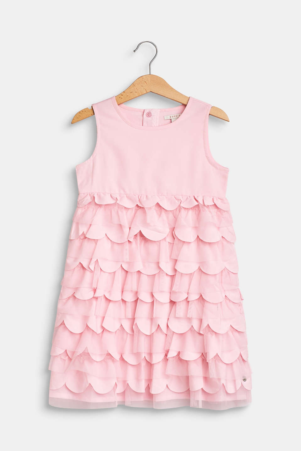 Esprit - Flounce dress with tulle and cotton lining