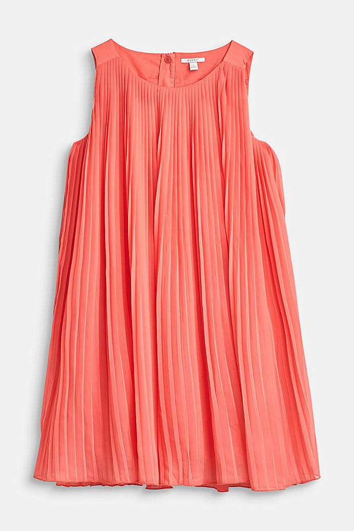 Flared, pleated dress with cotton lining, CORAL, detail image number 0