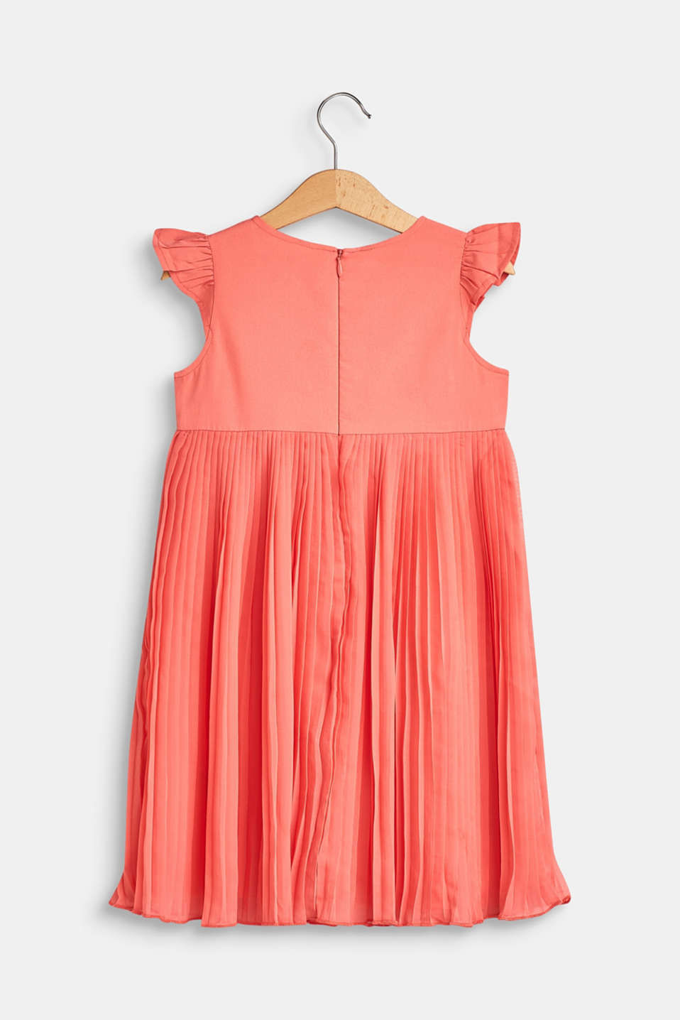 Flared, pleated dress with cotton lining, CORAL, detail image number 1