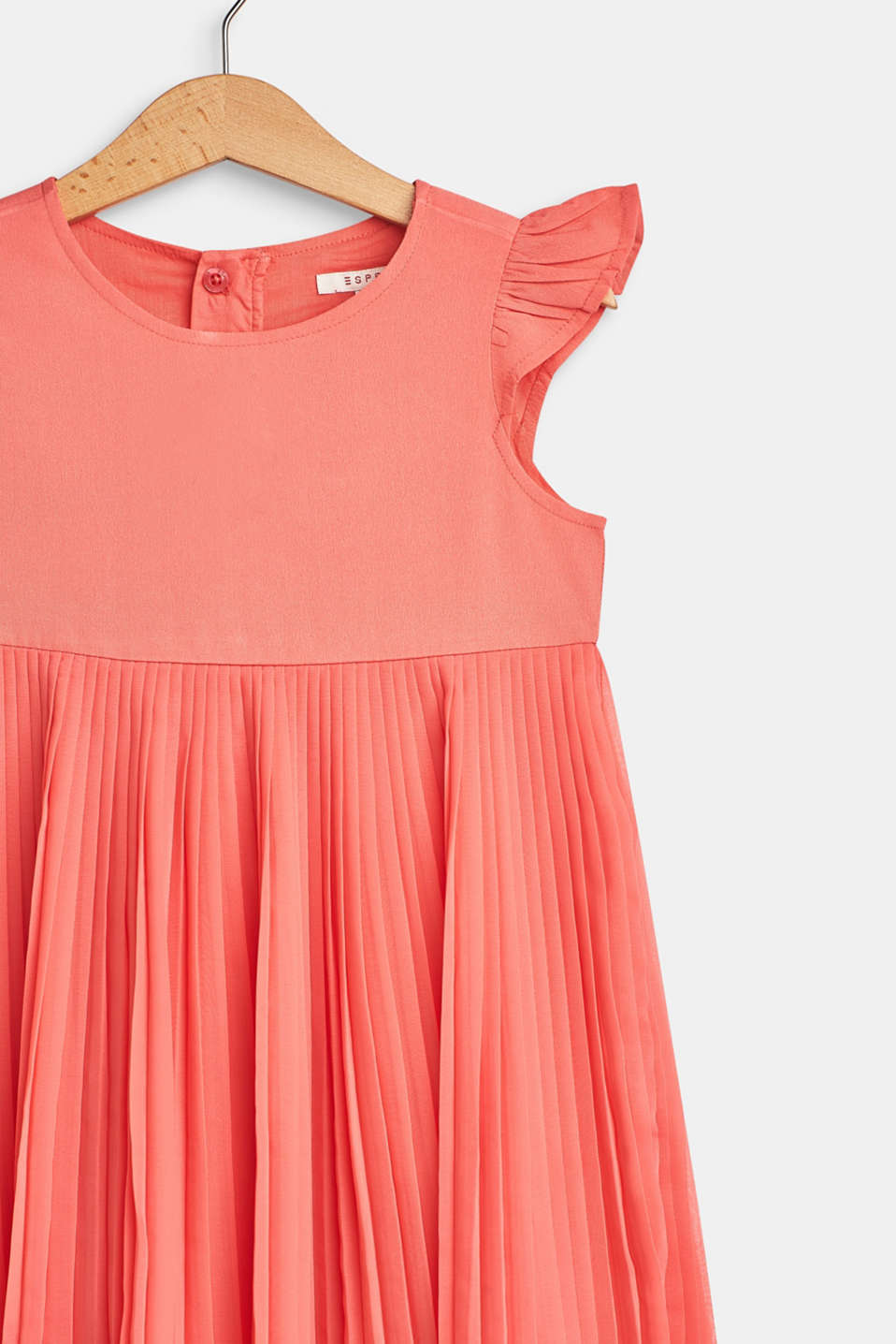 Flared, pleated dress with cotton lining, CORAL, detail image number 2