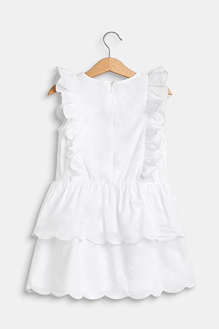 Kjole med volantdetaljer, 100% bomuld, WHITE, detail image number 1