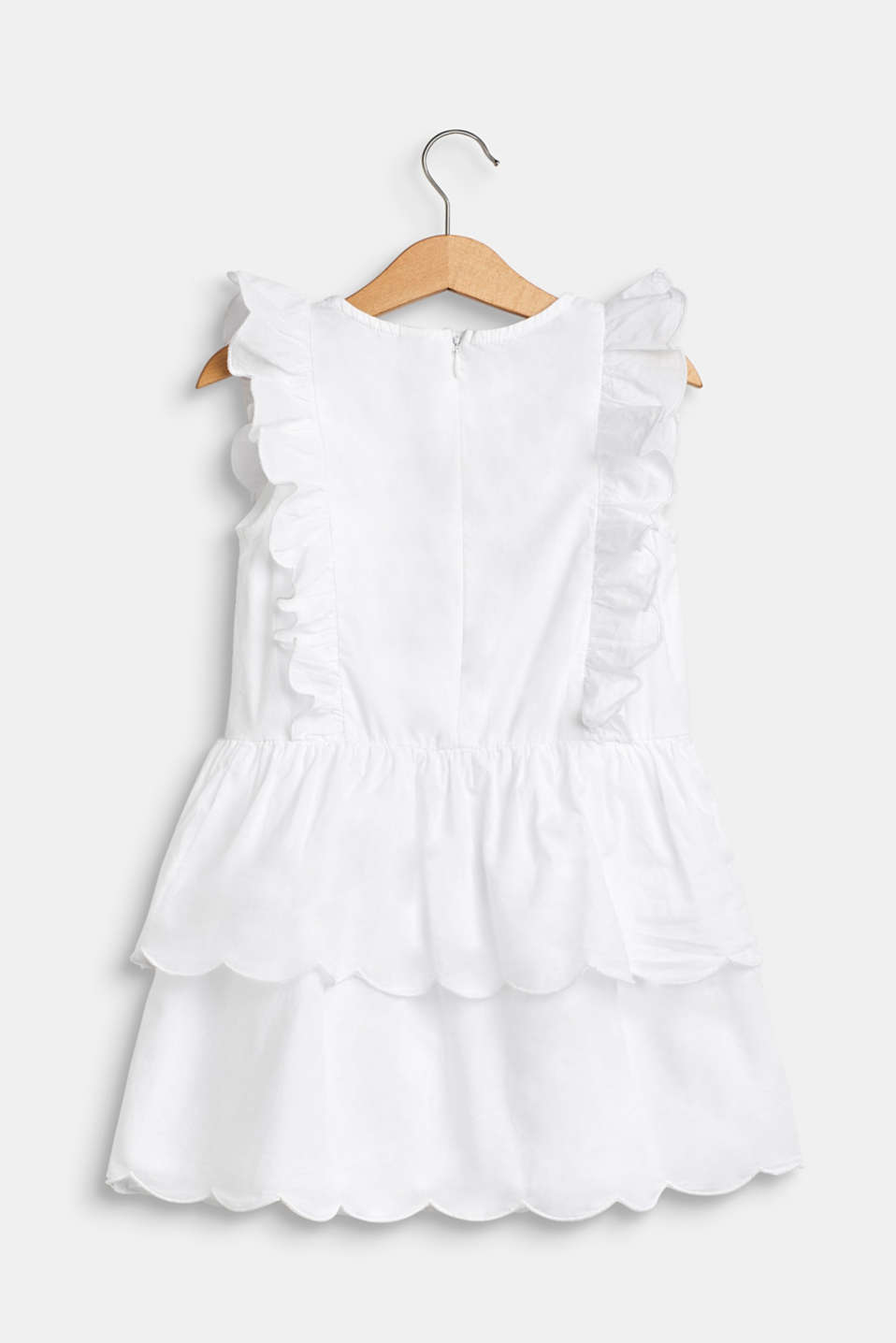 Dress with flounce details, 100% cotton, WHITE, detail image number 1
