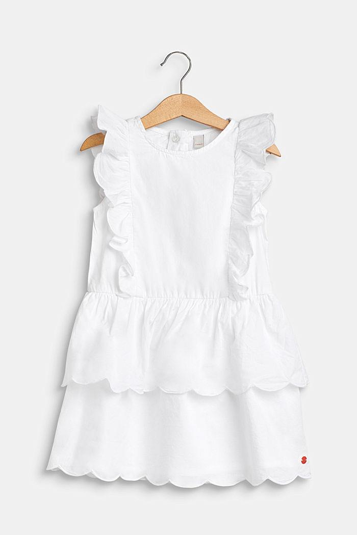 Kjole med volantdetaljer, 100% bomuld, WHITE, detail image number 0