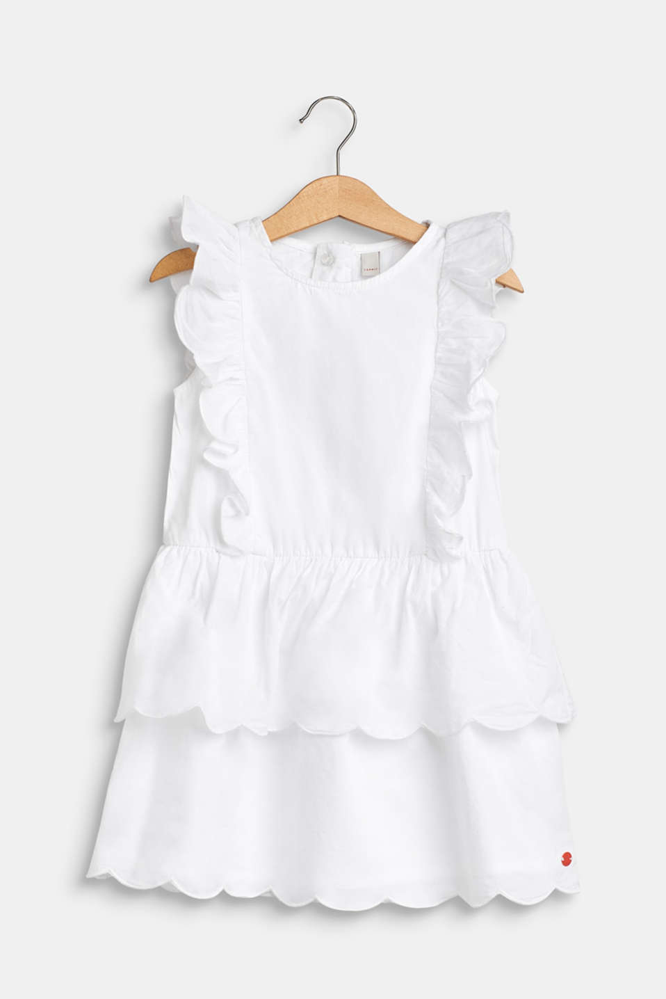 Esprit - Dress with flounce details, 100% cotton