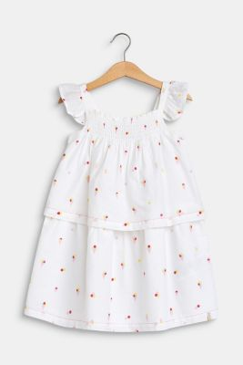 Flounce dress with an ice cream print, 100% cotton, WHITE, detail