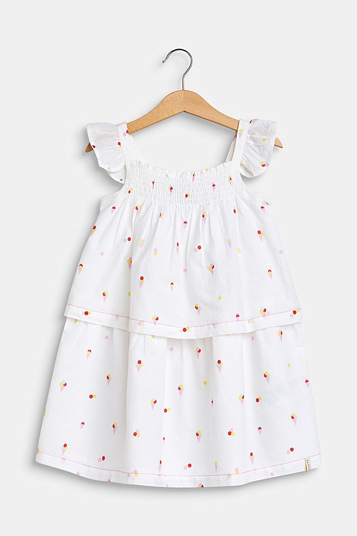 Volant-Kleid mit Eis-Print, 100% Baumwolle, WHITE, detail image number 0