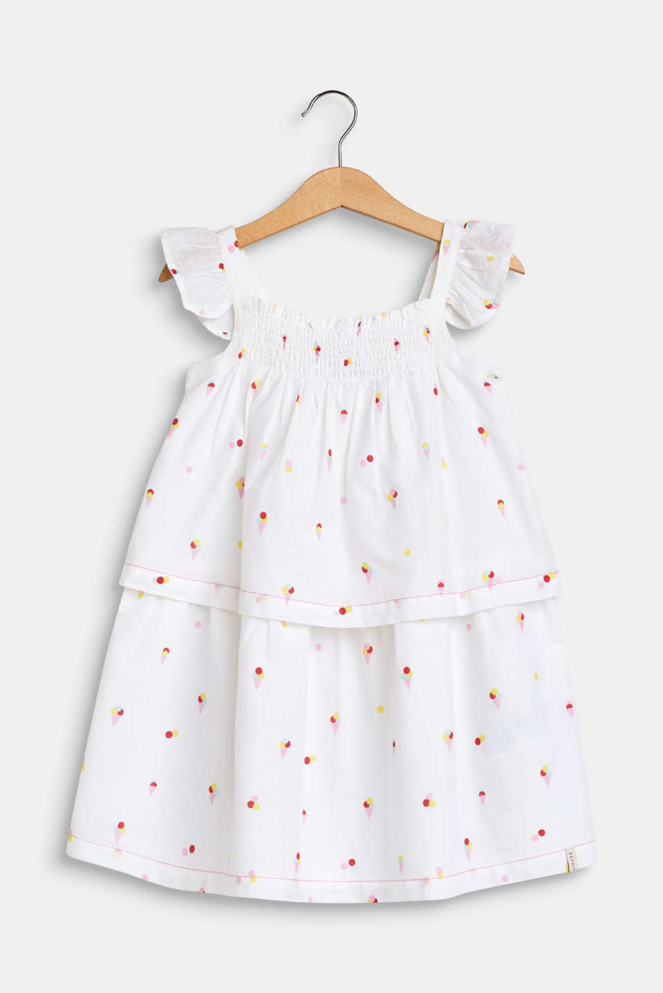 Flounce dress with an ice cream print, 100% cotton, WHITE, detail image number 0