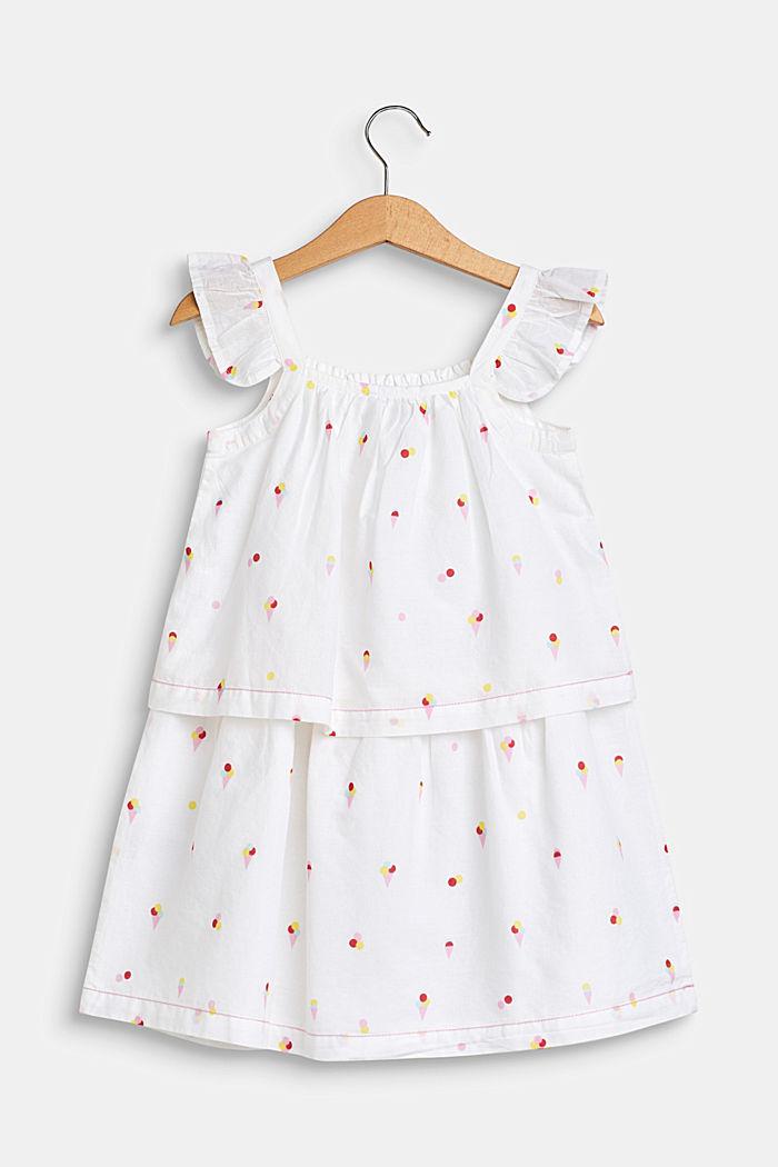 Volant-Kleid mit Eis-Print, 100% Baumwolle, WHITE, detail image number 1