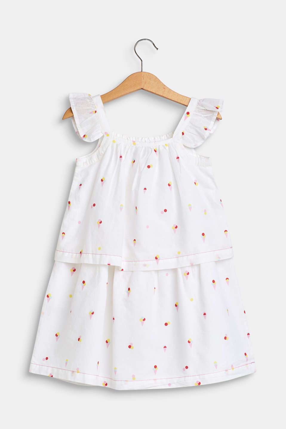 Flounce dress with an ice cream print, 100% cotton, WHITE, detail image number 1