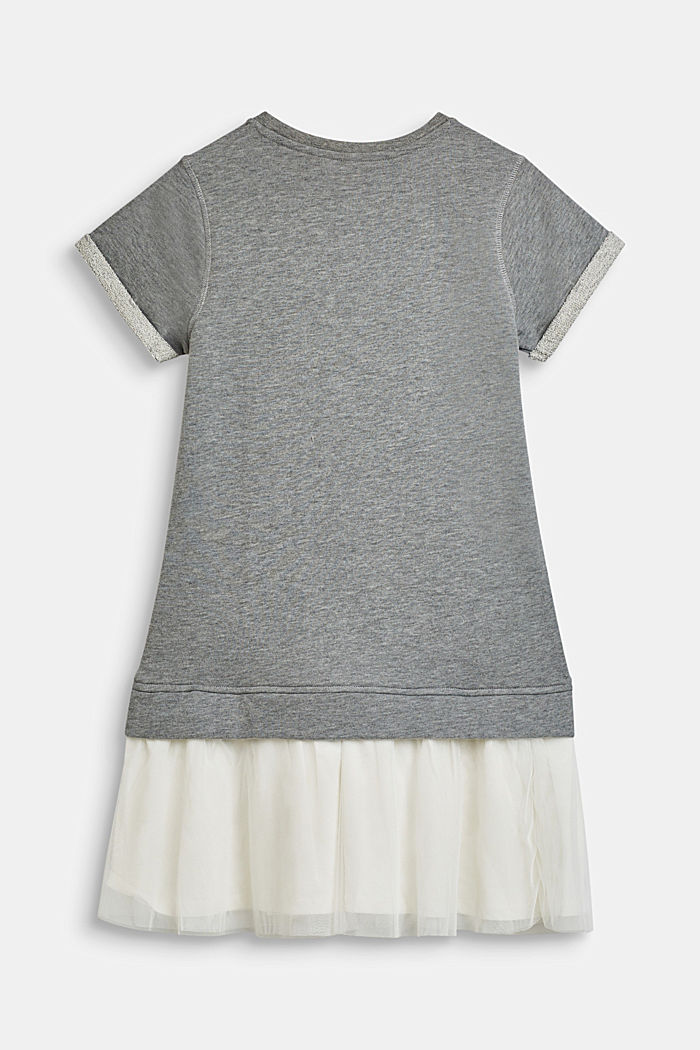 Melange sweatshirt dress with a tulle skirt, LCMID HEATHER GR, detail image number 1