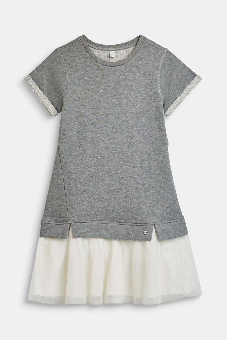Melange sweatshirt dress with a tulle skirt, LCMID HEATHER GR, detail image number 0