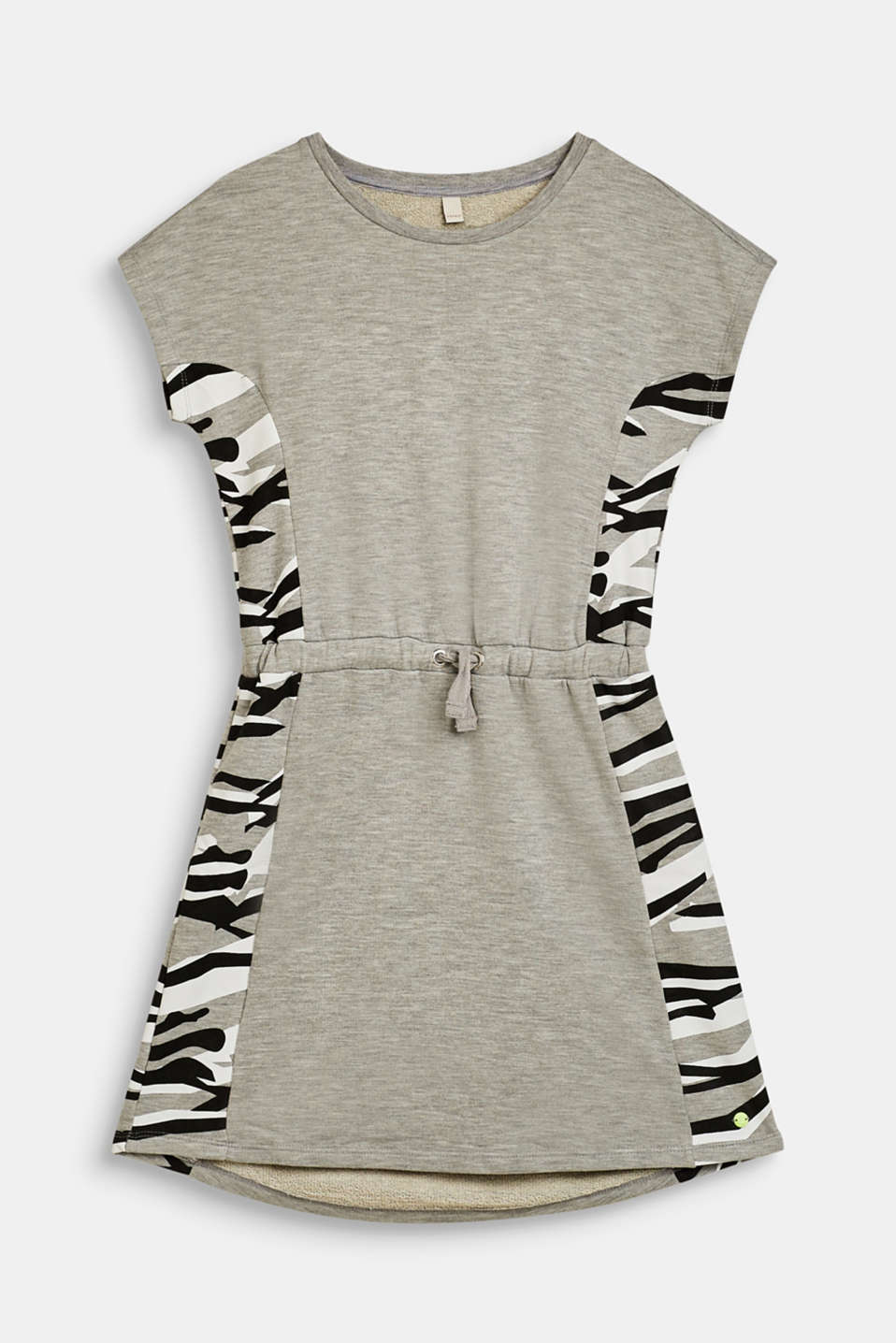 Esprit - Melange sweatshirt dress with a zebra print