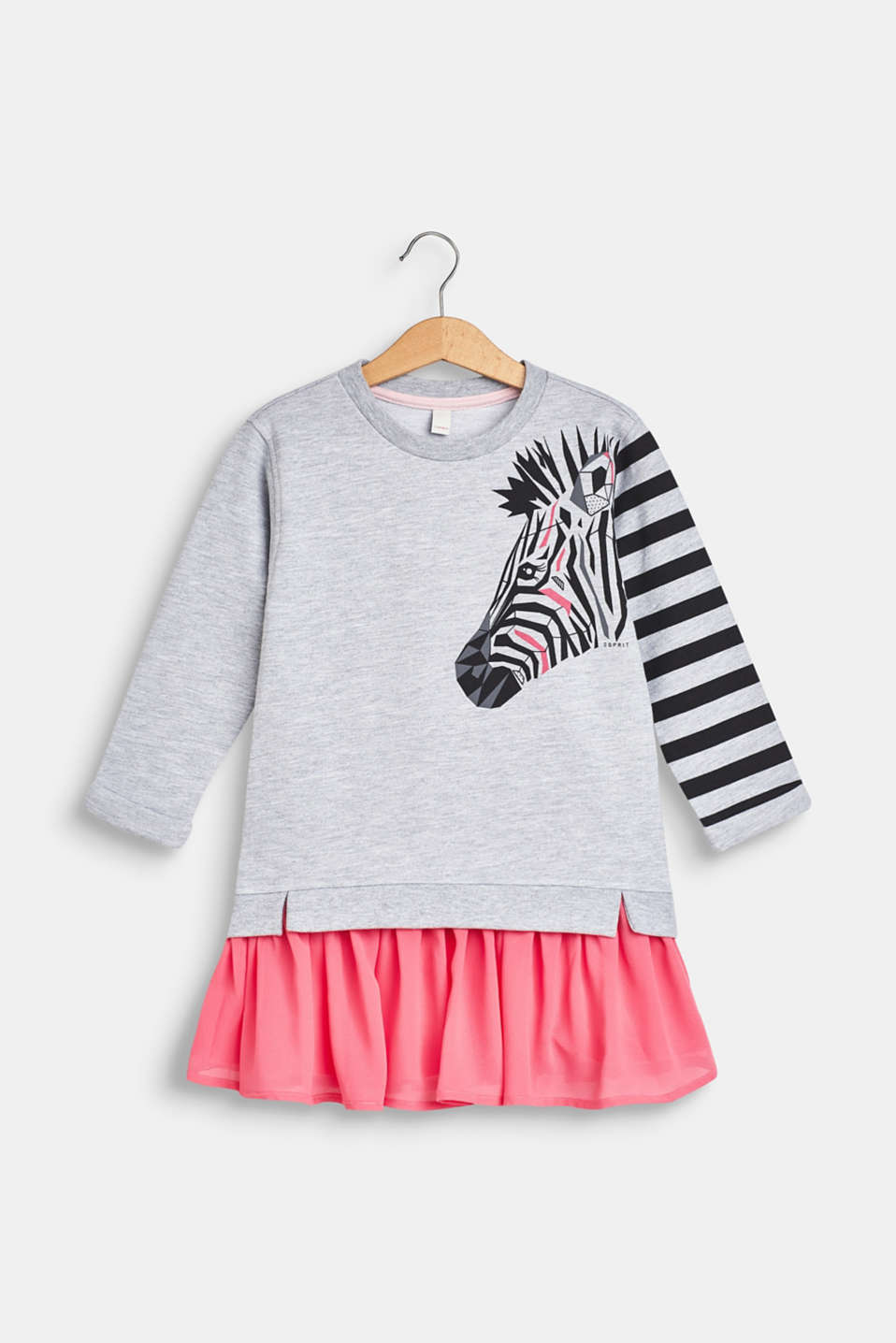 Esprit - Sweatshirt dress with a zebra print and chiffon skirt