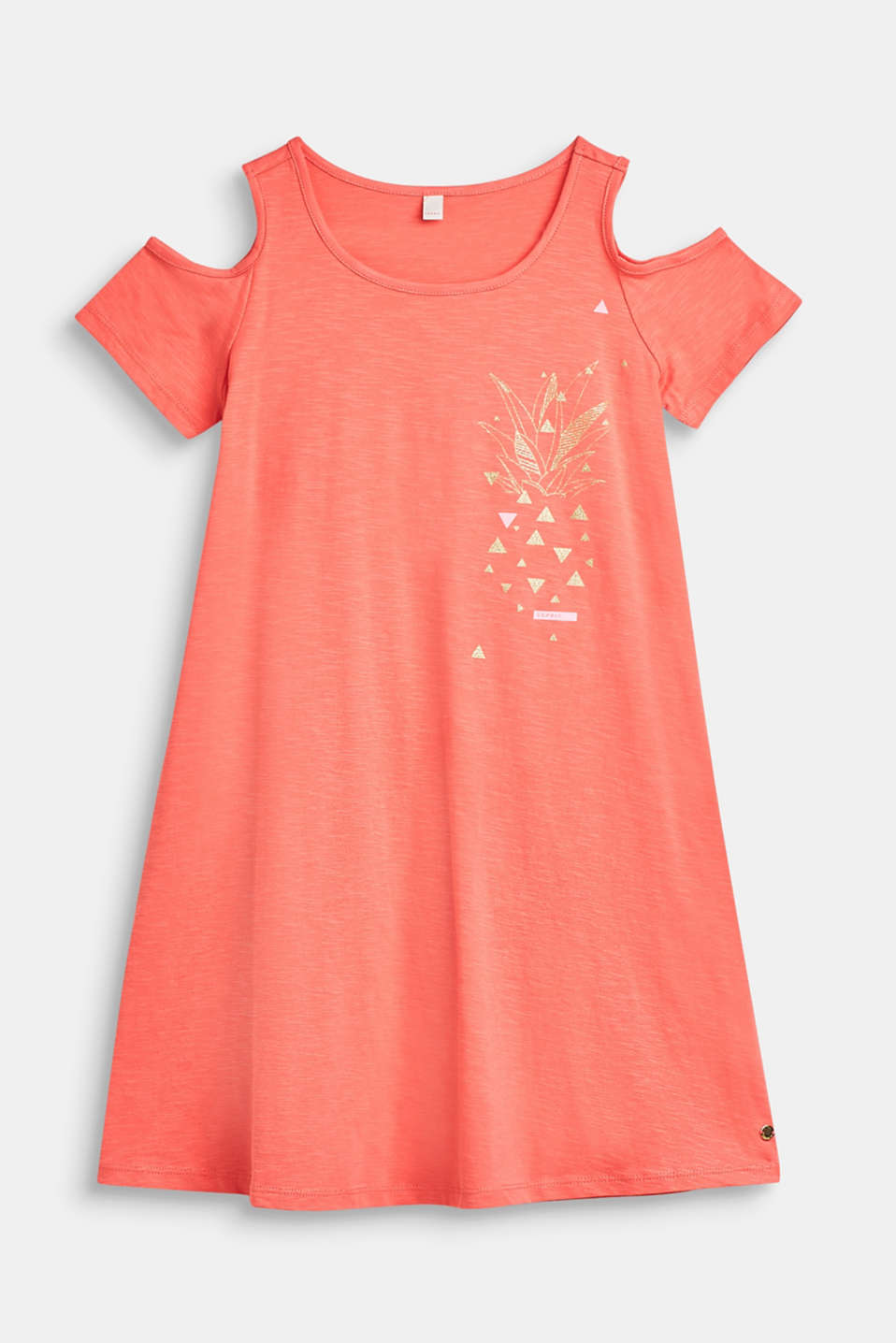 Slub dress with a glittering print, 100% cotton, LCCORAL, detail image number 0