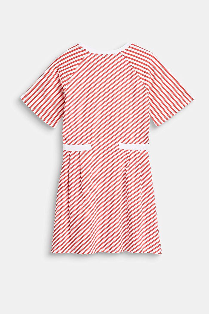 Raitakuosinen jersey-stretchmekko, CORAL, detail image number 1