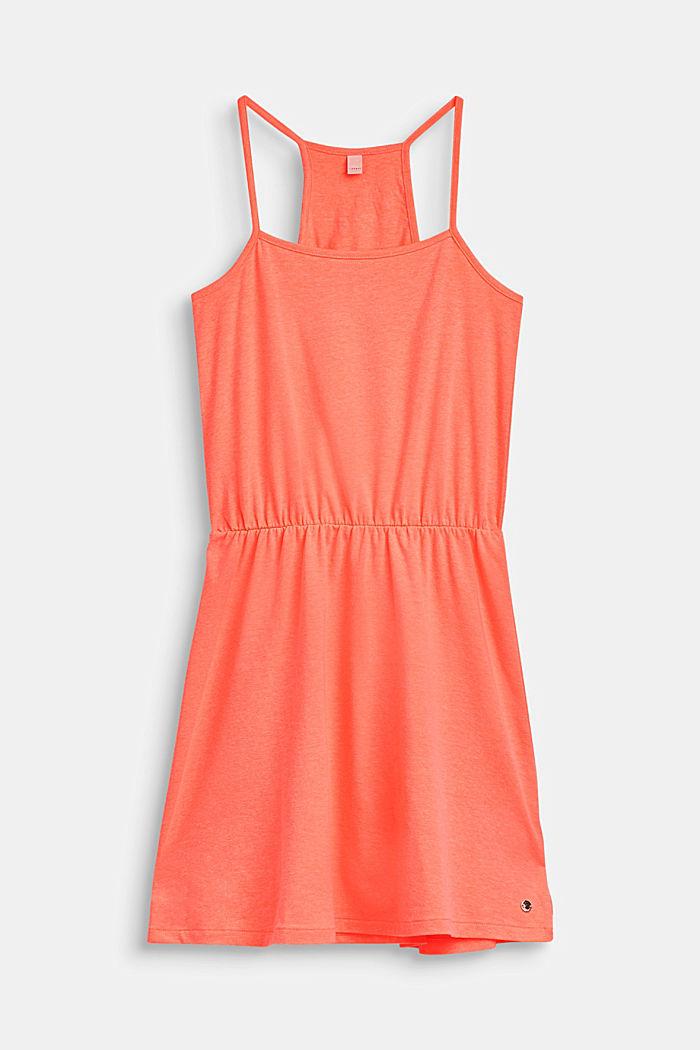 Schulterfreies Jersey-Kleid mit Glitzer-Print, LCNEON CORAL, detail image number 0