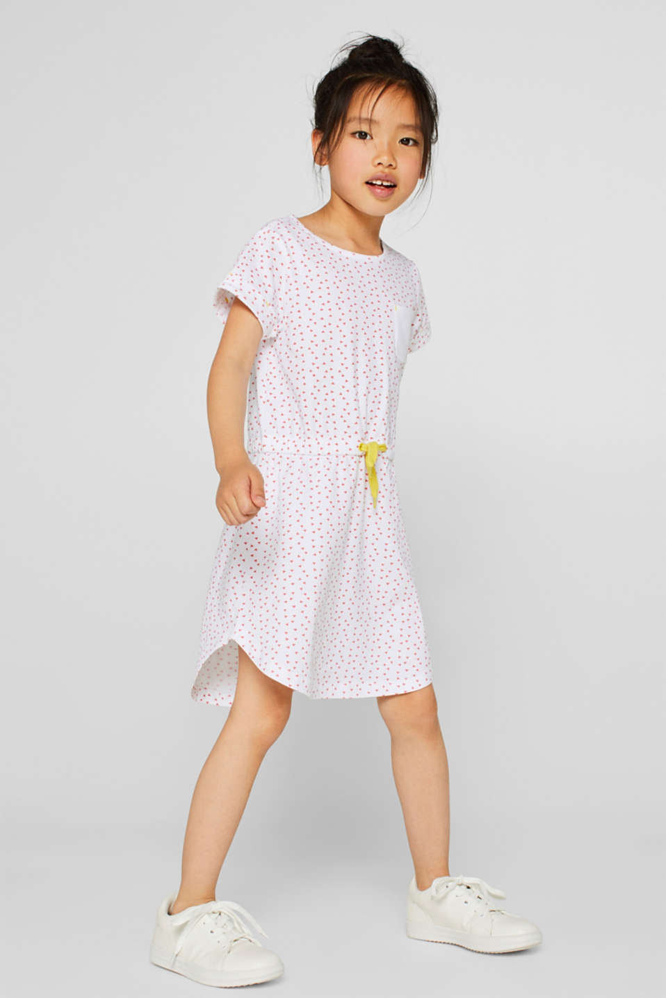 Patterned jersey dress made of stretch cotton, WHITE, detail image number 2
