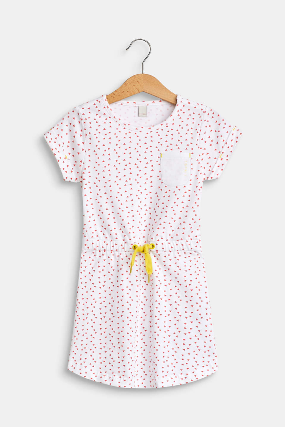 Patterned jersey dress made of stretch cotton, WHITE, detail image number 0