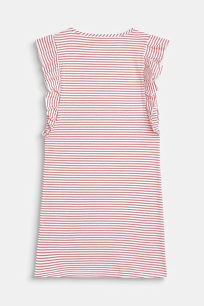 Jersey-Kleid mit Streifen und Volants, WHITE, detail image number 1
