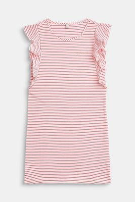 Jersey dress with stripes and flounces, LCWHITE, detail