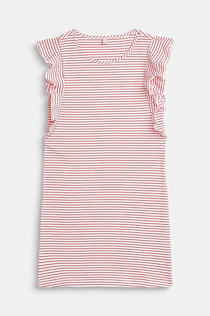 Jersey-Kleid mit Streifen und Volants