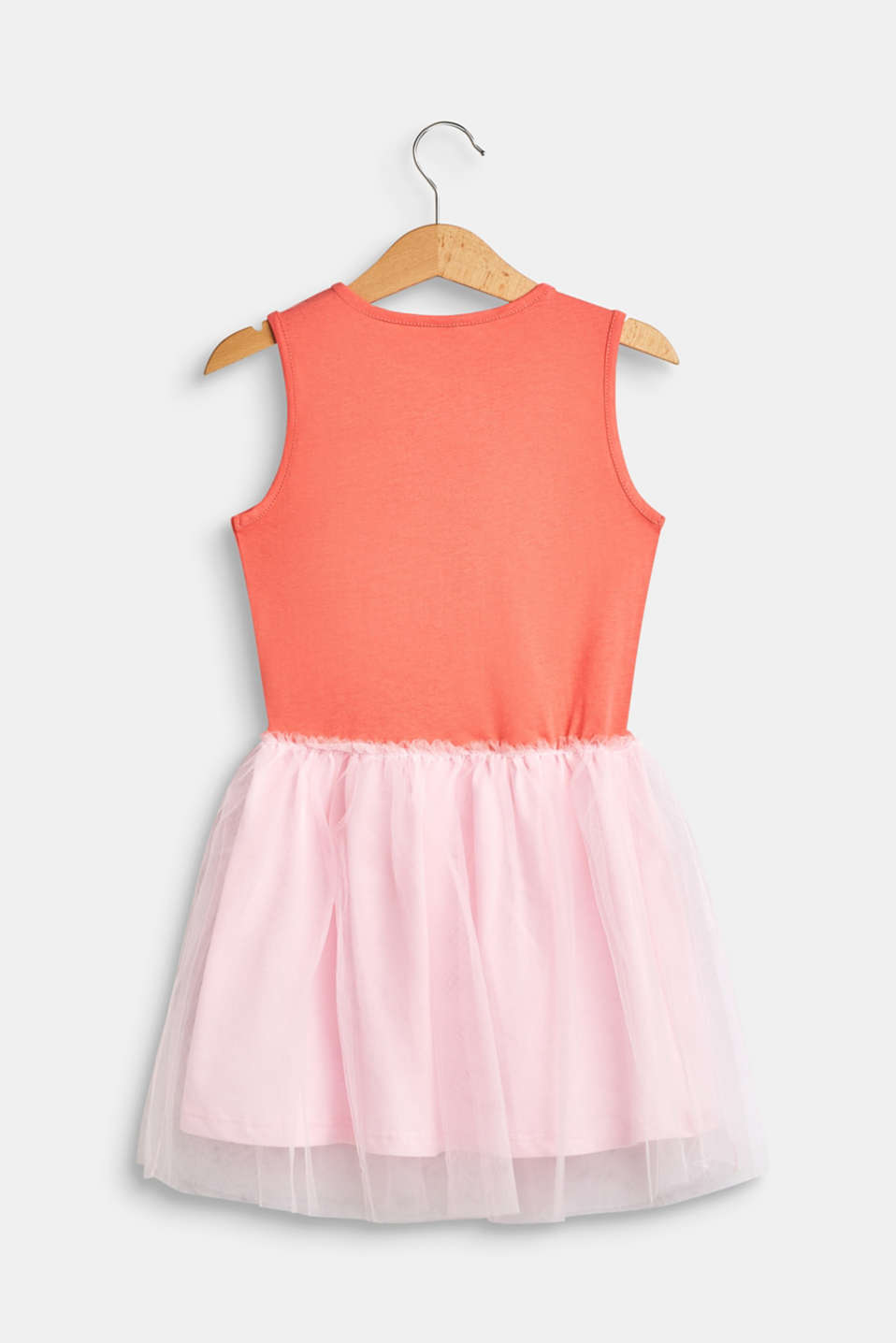 Vest top dress in jersey and tulle, CORAL, detail image number 1