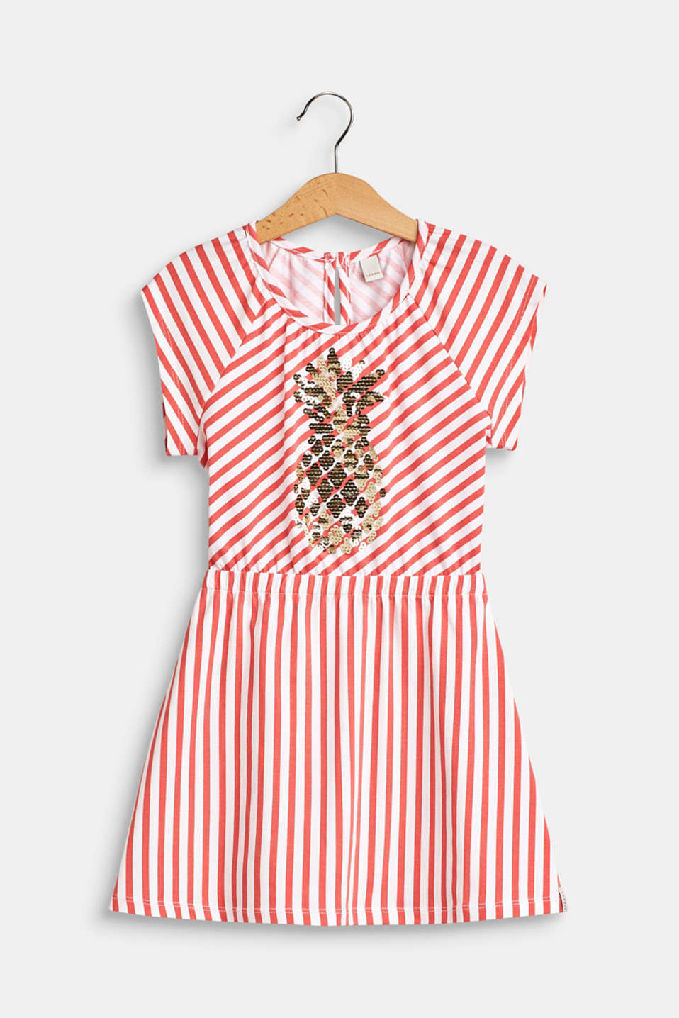Esprit - Striped jersey dress with a sequin motif