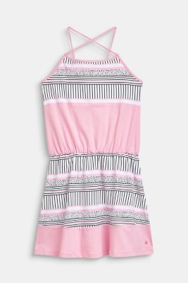 Stretch cotton jersey dress with a printed pattern, LCCANDY PINK, detail