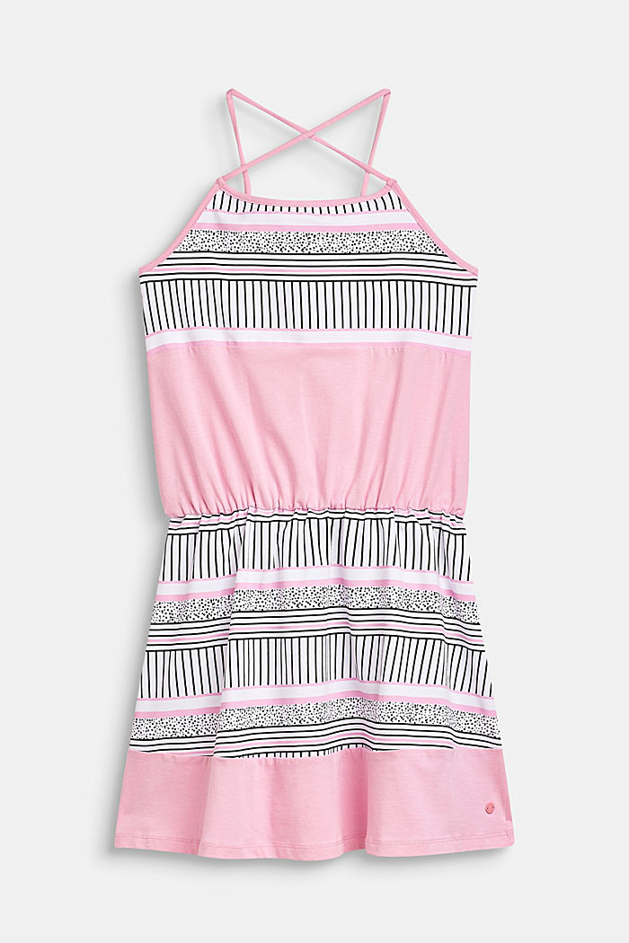 Jersey-Kleid mit Muster-Print, Baumwoll-Stretch, LCCANDY PINK, detail image number 0