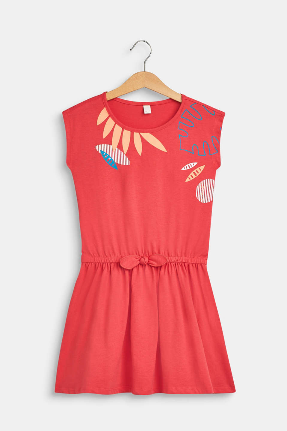 Esprit - Jersey dress with a tropical print, 100% cotton