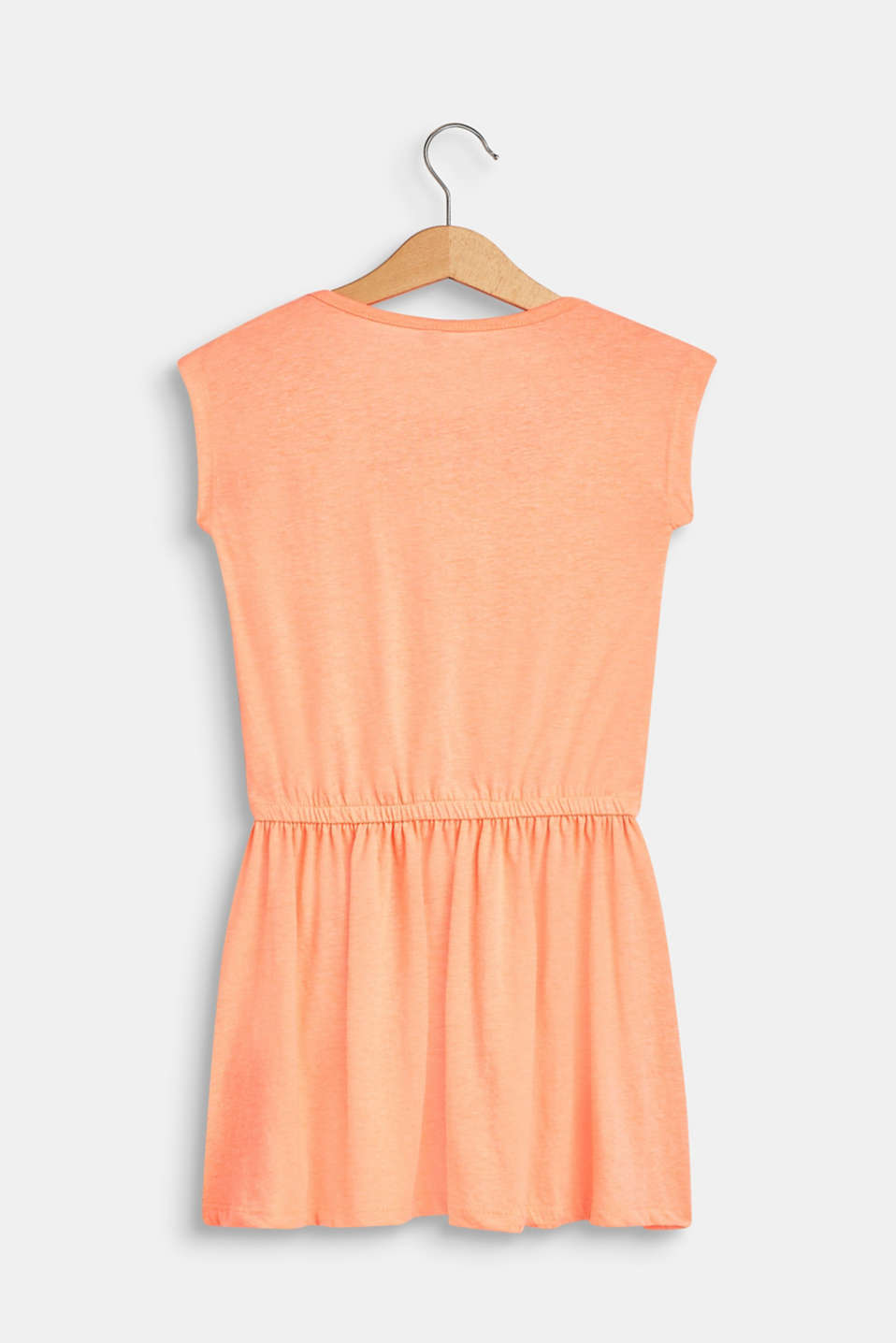 Jersey dress with a tropical print, 100% cotton, NEON CORAL, detail image number 1