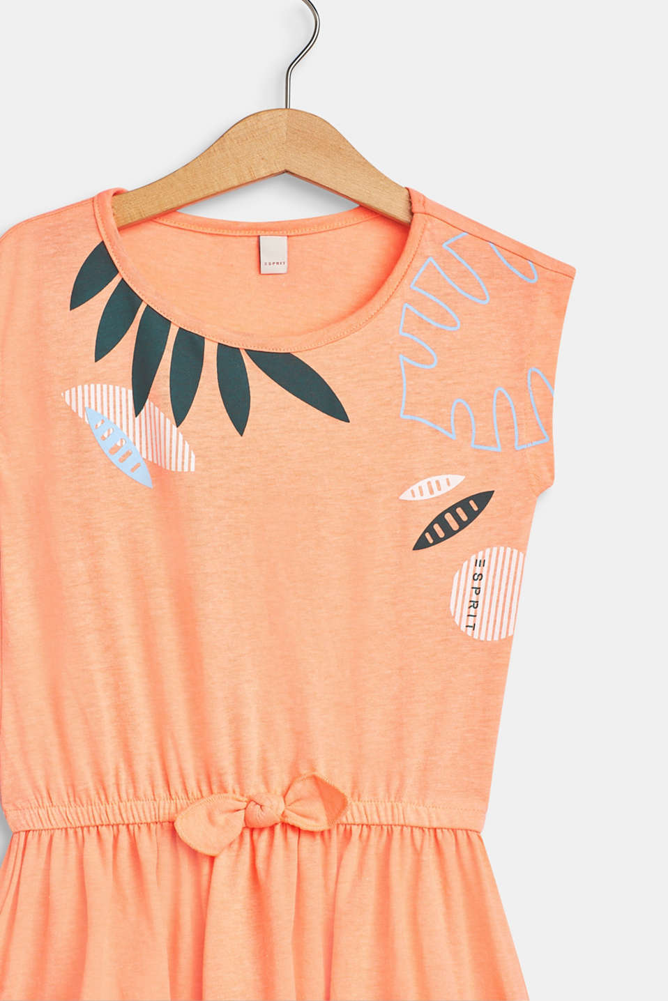 Jersey dress with a tropical print, 100% cotton, NEON CORAL, detail image number 2