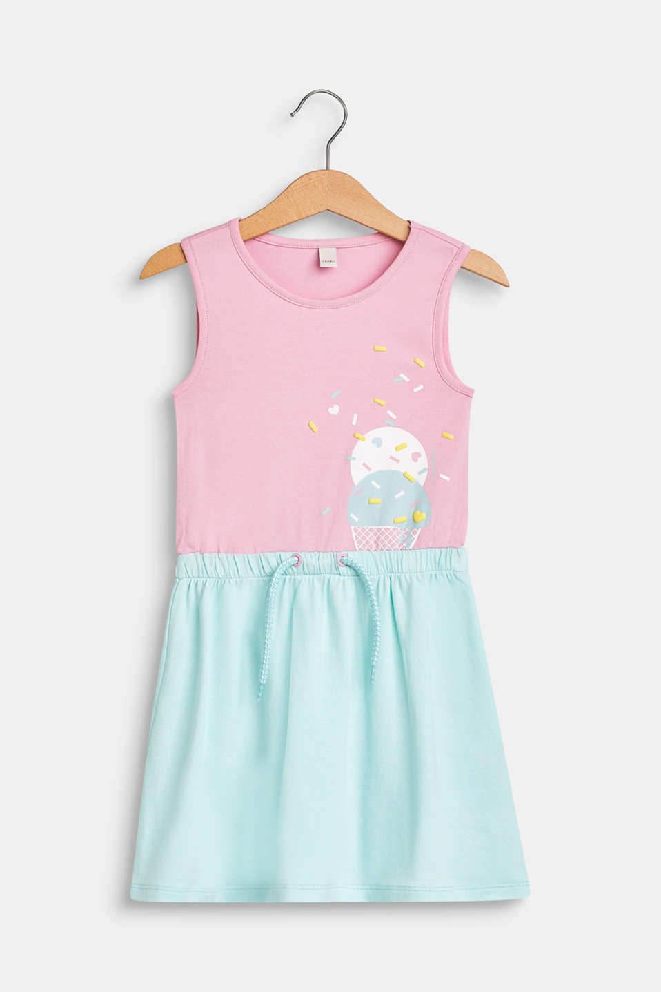 Esprit - Jersey dress with an ice cream print, stretch cotton